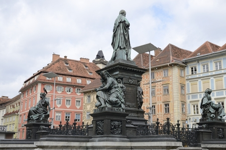 Bronze monument at the Main Square  of Graz,  the capital of federal state of Styria, Austria.