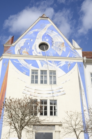 Giant sundial on the facade of the Styrian Provincial Archives  in Graz, Austria.