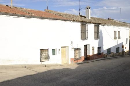 White street in Belmonte, a village located in the province of Cuenca, Castile-La Mancha, Spain.