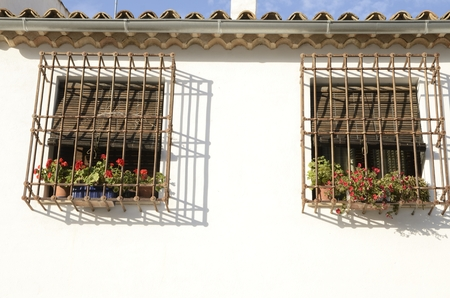 Flowers on grille windows  on white house  in the village of Belmonte, province of Cuenca, Spain.