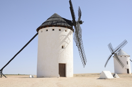 typical: Windmills  in Campo de Criptana, a town of the province of Ciudad Real, Castile-La Mancha, Spain.