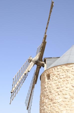 Sideways of stone windmill  in Belmonte, a village of the province of Cuenca, Castile-La Mancha, Spain.