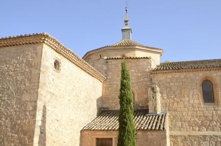 Collegiate church in Belmonte, a village located in the province of Cuenca, Castile-La Mancha, Spain.  Stock Photo