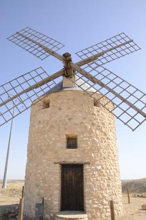 Stone windmill  in Belmonte, a village of the province of Cuenca, Castile-La Mancha, Spain.