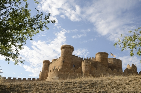 castille: Medieval  castle on the hill in the village of Belmonte, province of Cuenca, Spain.