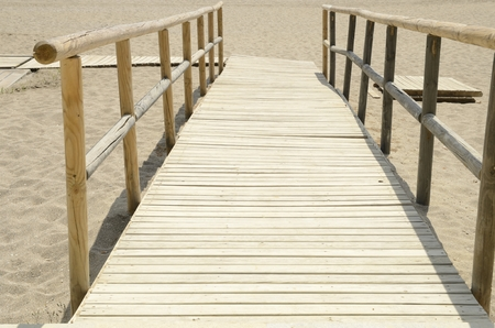 Stone ramp to access to the beach in Marbella, Andalusia, Spain. Stock Photo