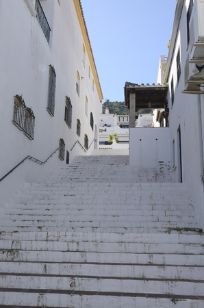 White stairway in Benahavis, a  mountain village next to Marbella, Andalusia, Spain.
