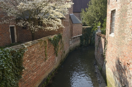 Small canal in the the Great  Beguinage in Leuven, Belgium.