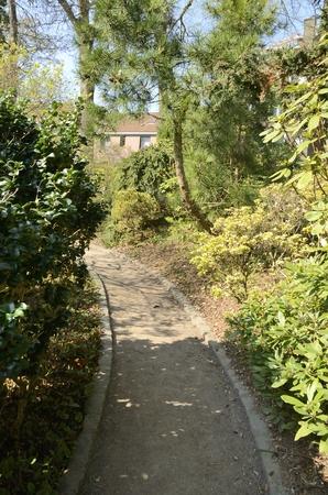 Narrow path at the botanical garden in Leuven, Belgium.