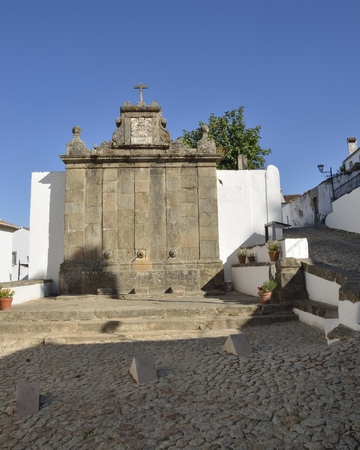 Stone fountainÊ in the medieval village of Marvao, Portugal