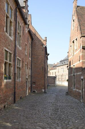 Cobbled alley at  the Great  Beguinage in Leuven, the capital of the province of Flemish Brabant in Belgium.