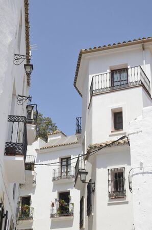 White buildings in Casares, a  mountain village of Malaga province, Andalusia, Spain.
