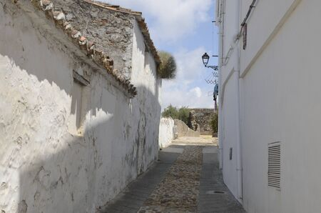 Stone footpath in whitewashed alley in Casares, a  mountain village of Malaga province, Andalusia, Spain.