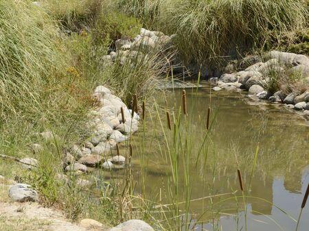 Ornamental waterway at park located in Madrid, the capital of Spain. Stock fotó