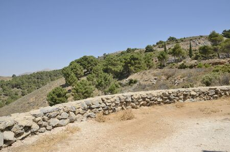 Viewpoint to mountain landscape on Ronda road, Andalusia, Spain.