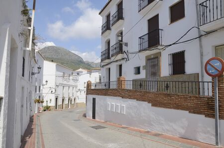 Street in Casares, a  mountain village of Malaga province, Andalusia, Spain. Stock fotó