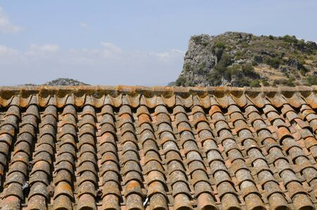 Traditional roof tiles in Casares, a  mountain village of Malaga province, Andalusia, Spain. Stock fotó