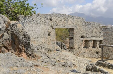 Ruins of Arab wall in Casares, a village of Malaga province, Andalusia, Spain. Stock fotó