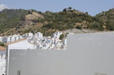 White houses at the hillside of Casares, a  mountain village of Malaga province, Andalusia, Spain.