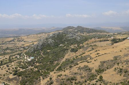 Mountain landscape in Casares, a village of Malaga province, Andalusia, Spain.