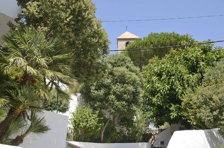 Paths landscaped at garden in Casares, a mountain village of Malaga province, Andalusia, Spain.