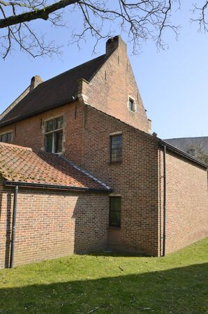 Brick house at the Great  Beguinage in Leuven, the capital of the province of Flemish Brabant in Belgium.