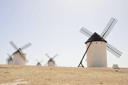 Windmills  in Campo de Criptana, a town of the province of Ciudad Real, Castile-La Mancha, Spain.