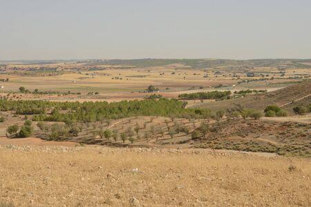 Arid countryside in Belmonte, province of Cuenca, Spain. 版權商用圖片