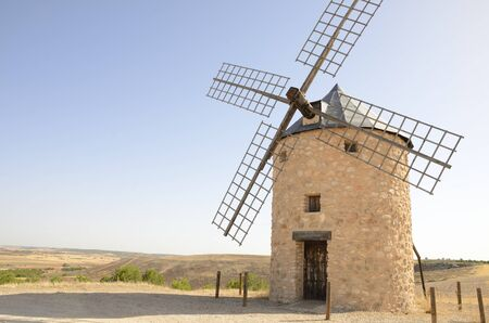 Stone windmill  in the countryside of Belmonte, a village of the province of Cuenca, Castile-La Mancha, Spain.