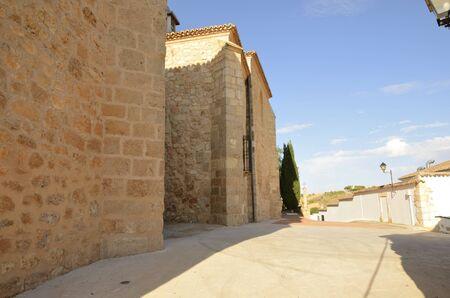 Street next to stone building in Belmonte, province of Cuenca, Spain. 版權商用圖片