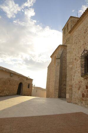 Street in the village of Belmonte, province of Cuenca, Spain. 版權商用圖片