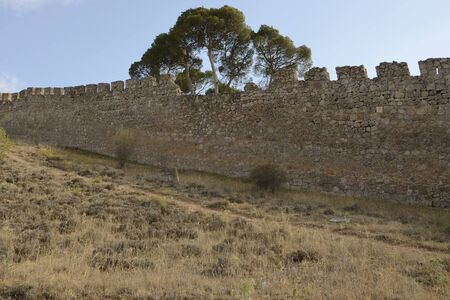 Medieval fortified wall  in the countryside of the village of Belmonte, province of Cuenca, Spain.