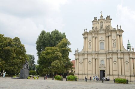 Warsaw, Poland - July 29, 2018:  People at exterior of church of Saint Joseph of the Visitationists in Warsaw, the capital of Poland.
