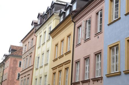 Colorful facades at street in the old town of  Warsaw, Poland.