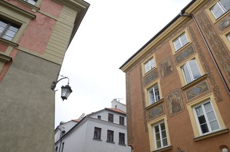 Historic buidings at street in the old town of  Warsaw, Poland.