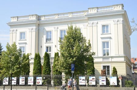 Warsaw, Poland - July 30, 2018: White historic Building at avenue of the  Royal Route  in Warsaw, Poland.