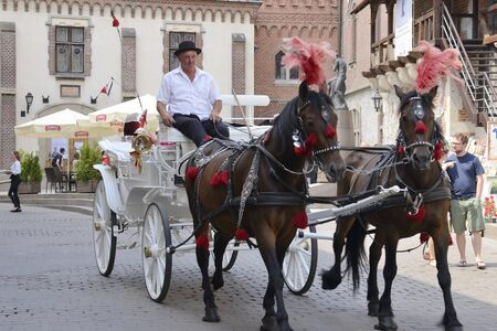 Krakow, Poland - July 25, 2018: Horse carriage in the old town of Krakow, Poland.