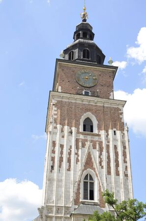 Town Hall Tower at the Main Market Square in the Old Town of Krakow, Poland.
