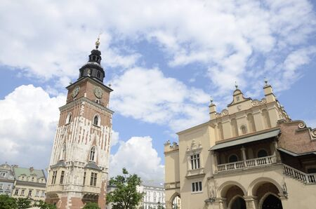 Town Hall Tower and Cloth Hall at the Main Market Square in the Old Town of Krakow, Poland. 版權商用圖片