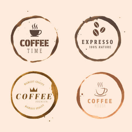 Vector ring cup stain,coffee logo,Grunge logo coffee.