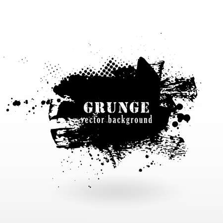 Vector grunge banner background. Grunge texture halftone and black ink splatter. Ilustración de vector