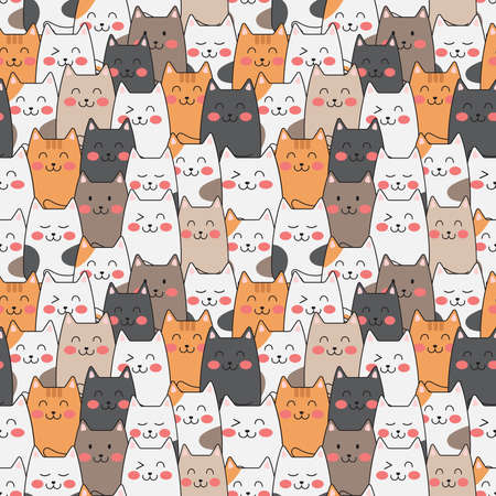 Vector cute cats pastel color seamless pattern background.