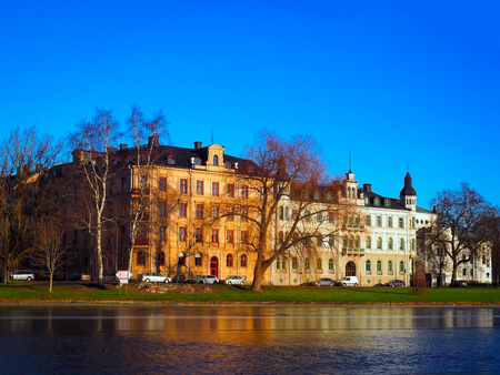 karlstad: Cityscape near the river in winter season with navy blue sky background, Karlstad, Sweden