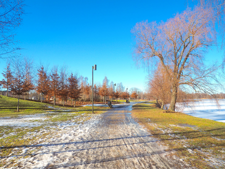 karlstad: Public park near the river covered with snow, blue sky in winter, Karlstad city Sweden. Editorial