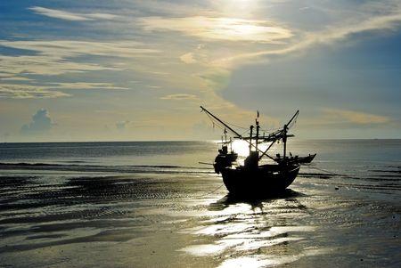 clergyman: Guard boat sea blue sky. Stock Photo