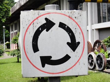 Sign symbol is a white circle Stock Photo - 9551507