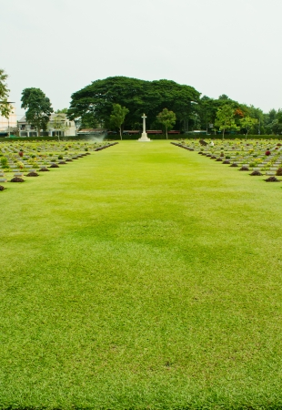 christian halloween: Cemeteries of World War II, Kanchanaburi Thailand Stock Photo