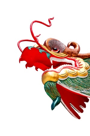 godliness: Chinese style dragon statue on white background