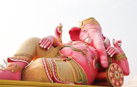 siddhivinayaka: The image of Ganesh pink Wat Samarn, Chachoengsao,Thailand.