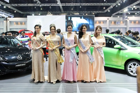 BANGKOK, THAILAND - MARCH 28 : An unidentified female presenter present at Miss Motor Show 2012 in the Thailand International Motor show 2012 at IMPACT Muang Thong Thani on March 28, 2012 in Bangkok, Thailand.